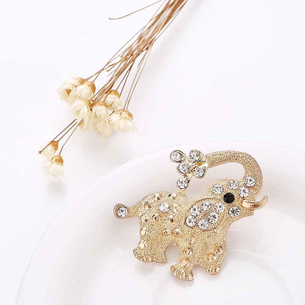 KingbeefLIU Mujeres Rhinestone Elefante Animal Broche Pin Ramillete Bufanda Chal Insignia Joyer/ía Elegante Vintage Broche Regalo De La Joyer/ía Dorado