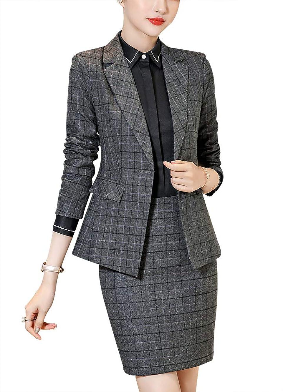 Women's Causal Two Pieces Plaid Blazer Suit Set Office Lady Slim Fit Blazer Jacket,Pant/Skirt