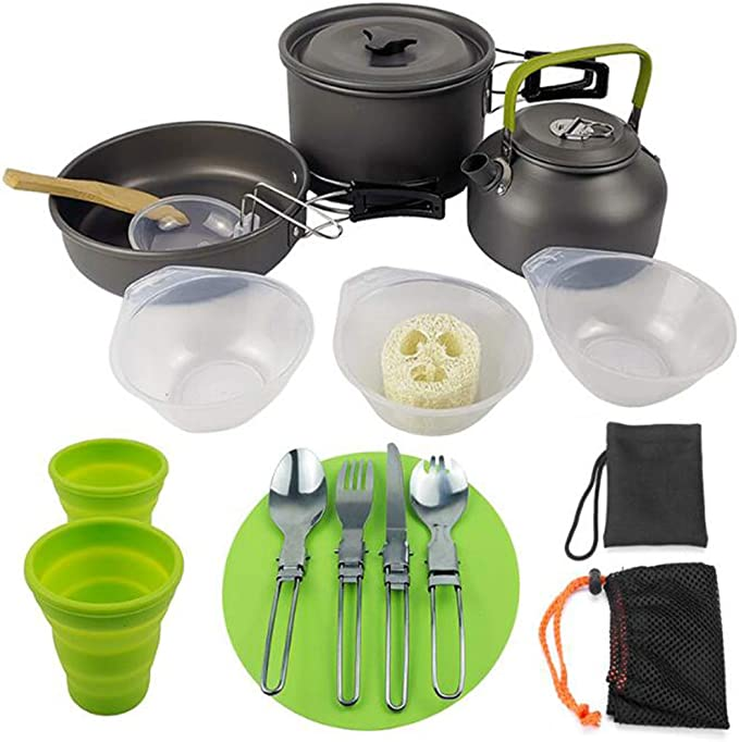 Kit de Utensilios Cocina Camping con Tazas de Acero ...