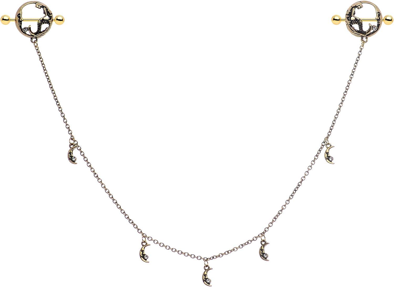 Body Candy Women 14G PVD Steel Nipplering Piercing Moon Mermaid Nipple Shield Dangle Nipple Chain 9/16