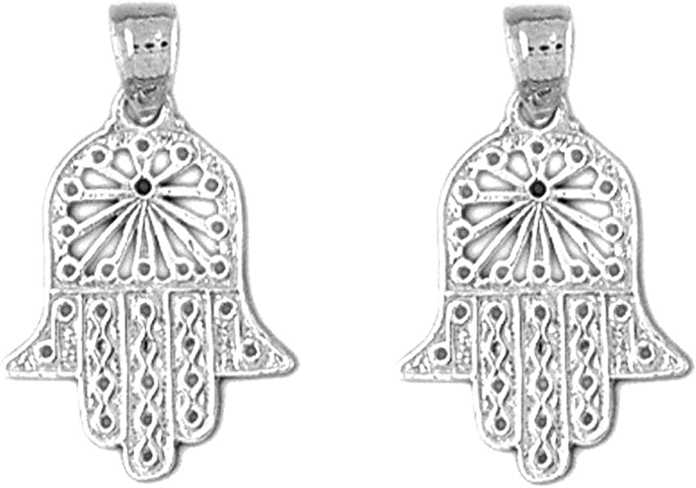 Jewels Obsession Chicago Mall Hamsa Earrings Today's only 14K Gold Lever Bac White