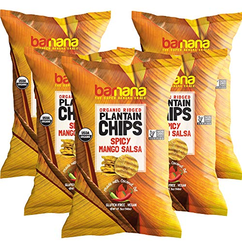 Barnana Organic Plantain Chips - Spicy Mango Salsa - 5 Ounce, 5 Pack - Salty, Crunchy, Thick Sliced Snack - Best Chip for Your Everyday life - Cooked in Premium Coconut Oil