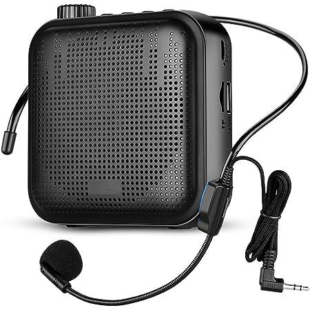 Amplificador de Voz, Portátil Sistema de PA Recargable de 12 Vatios (1200 mAh) con Micrófono con Cable para Profesores, Guía Turístico y más (Negro)