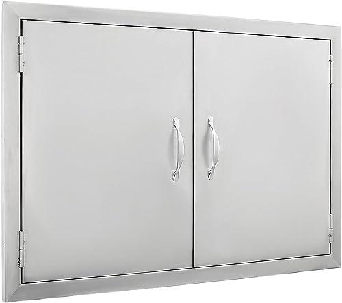 "2021 SHZOND 30.5"" W x21 popular H BBQ Access Door 304 Stainless BBQ Island Door Heavy Duty Double Door Great for Outdoor Kitchen (30.5"" outlet sale W x21 H DD) outlet online sale"