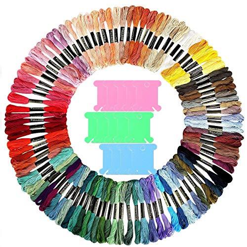Hilos de Bordar,DBAILY Colores Algodón Bordado Hilos de Punto de Cruz Tablero Bobina el Plastico Para Pulsera Amistad Punto Manualidades Costura