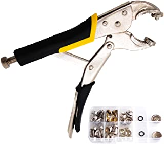DianMan Heavy-Duty Snap Fastener Pliers (Adjustable Setter, 2 Interchangeable Dies) Snap Installation Set Hand Tools for Fastening, Replacing Metal Snaps, Repairing Boat Covers, Canvas (Black)