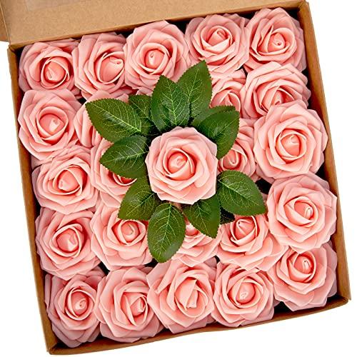 Künstliche Rosen, Schaumrosen 25 Stück - Blühender Schaum Künstliche Blumen mit Stiel für DIY Blumensträuße Mittelstücke Arrangement Party, Wohnkultur (Rosa)