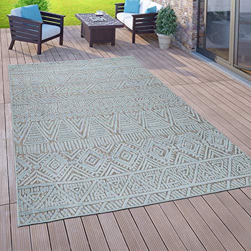 Paco Home Alfombra Interior Exterior Balcón Terraza Tejido Plano 3D Étnico Turquesa, tamaño:80x150 cm