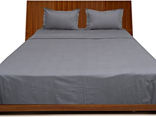 Relaxare Full XL 300TC 100% Egyptian Cotton Silver Grey Solid 4PCs Sheet Set Solid (Pocket Size: 15 inches)