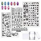 EBANKU Kit de herramientas de estampación de uñas, 3 placas de estampación de uñas grandes, 150 patrones, mariposa, atrapasueños, plumas, rosa, plantilla de manicura, con 1 sello y 1 raspador