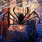 Unomor Giant Halloween Spider Decorations with LED Eyes Scary Sound Adjustable for Halloween Indoor/Outdoor Decorations - 125CM