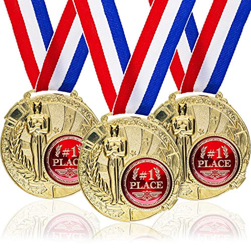 Paquete de 6 medallas de oro de Juvale, galardones para niños y adultos con cinta roja, blanca y azul para deportes, para competiciones escolares o de trabajo (6,6 cm de diámetro)