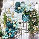 Guirnalda Globos Verdes, Safari Jungle Balloon Garland Arch Kit, Globos de Látex de Confeti con Hojas de Palmera para Niños, Niños, Baby Shower, Decoración Cumpleaños Fiestas de Bodas