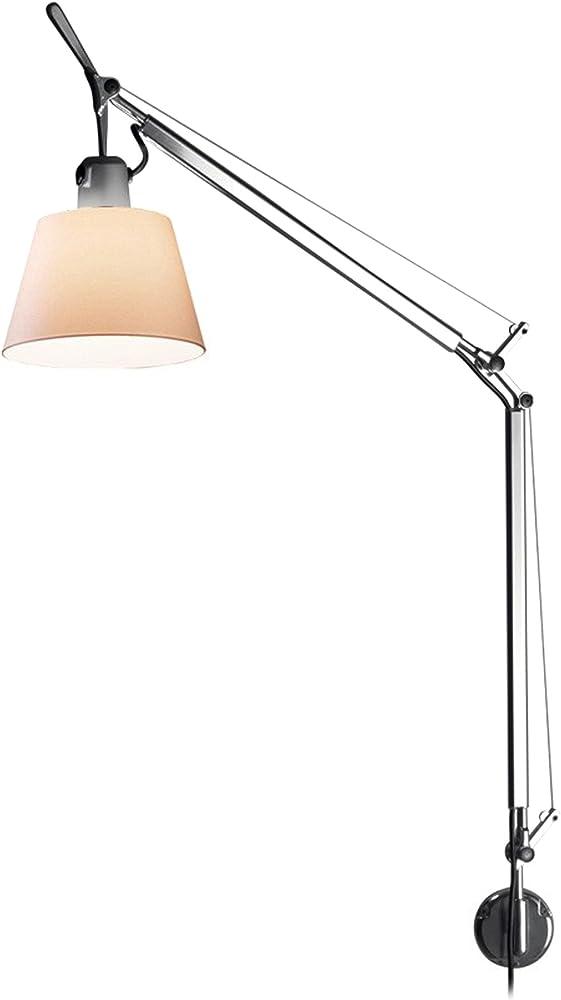 Artemide, lampada basculante da parete,in alluminio,e paralume in carta pergamena 0947010A+A025150