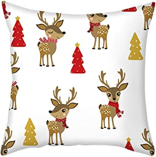 Shan-S Merry Christmas Throw Pillow Case Rose Gold Pink Cushion Cover Hidden Zipper Square Pillowcase Home Nordic Style Xmas Holiday Santa Claus Reindeer Decoration for Living Room Bedroom