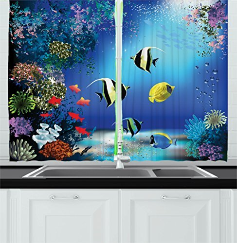 """Ambesonne Underwater Kitchen Curtains, Tropical Undersea with Colorful Fishes Swimming in The Ocean Coral Reefs Image, Window Drapes 2 Panel Set for Kitchen Cafe Decor, 55"""" X 39"""", Blue Navy"""