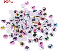 Thobu Doll Eyes Safety-100 Pieces Mixed Color Self Adhesive Eyes with Eyelashes for Doll Bear Stuffed Toy DIY Craft Colors Randomly10mm