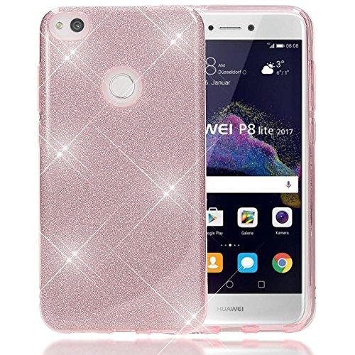 NALIA Custodia in Silicone compatibile con Huawei P8 Lite 2017, Glitter Copertura Protezione Sottile per Cellulare Slim Cover Case Protettiva Scintillio Smartphone Telefono Bumper, Colore:Pink