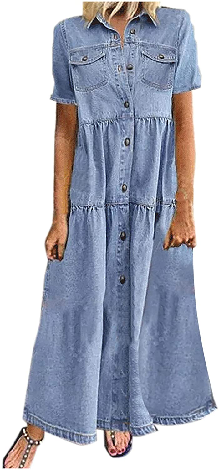 CofeeMO Women's Plus Size Casual Loose Round Neck Summer Dress Short Sleeve Cowboy207