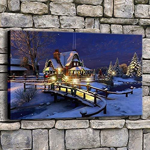 Moderne drucke Bild Wohnzimmer Dekoration Nette Nacht schneebedeckte Weihnachten hütte Familie Poster leinwand wandkunst rahmenlose malerei 40X70 cm
