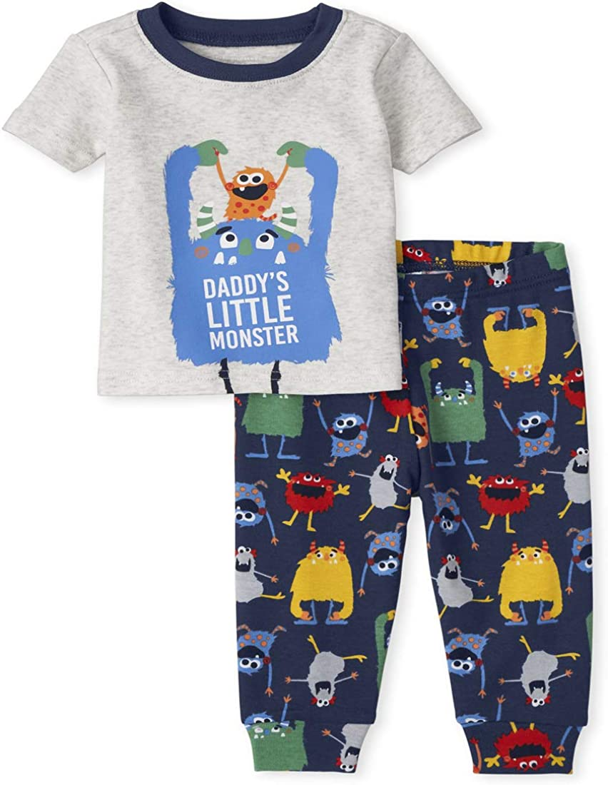 The Children's Place Baby and Toddler Boys Monster Snug Fit Cotton Pajamas