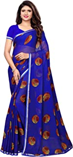 KANCHNAR Women's Navy Blue Chiffon Printed Saree with Unstitched Blouse