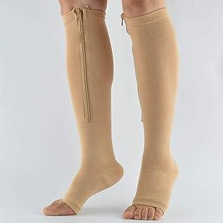 NERO- S//M calzini sportivi con supporto al ginocchio e polsini in rilievo varicose Calze a compressione calze a compressione con cerniera calze a compressione per uomo e donna