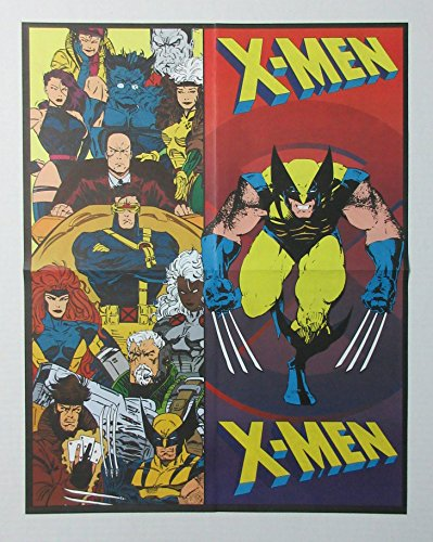 2-Sided vintage original 1996 Marvel Comics Uncanny X-men coloring poster pin-up, with Gambit, Rogue, Psylocke, Cable, Wolverine, Cyclops, Storm, Professor X, Jean Grey, Colossus, Jubilee, Beast