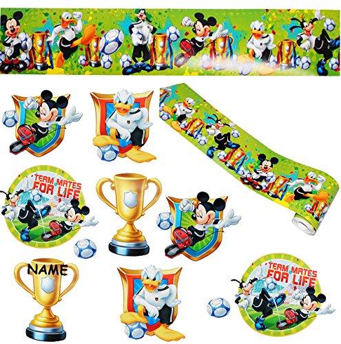 alles-meine.de GmbH 11 TLG. Set _ Fensterbilder + Wandborte -  Mickey Mouse mit Fußball  - incl. Name - Sticker Fenstersticker Aufkleber - selbstklebend + wiederverwendbar - Fe..