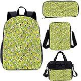 Conjunto de mochila escolar y bolsa de almuerzo, diseño floral de 43 cm, juego de mochila 4 en 1