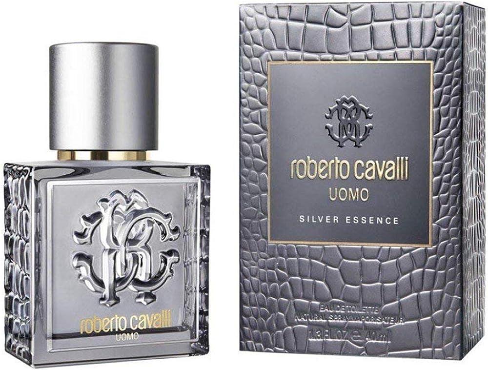 Roberto cavalli silver essence,eau de toilette,profumo  per uomo ,40 ml 3614223298464