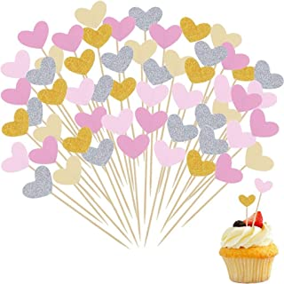 Xgood 60 Pieces Cupcake Toppers Heart Cake Decoration 5 Colors Heart Shaped Cupcake Toppers Cake Decoration Supplies