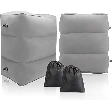 Inflatable Travel Foot Rest Pillow- Toddler & Kids Bed Airplane Bed, Maliton Inflatable Foot Rest for Air Travel, Adjustable Height Leg Rest Pillow for Airplane, Home, Trains, Cars(Grey, 2 Pack)