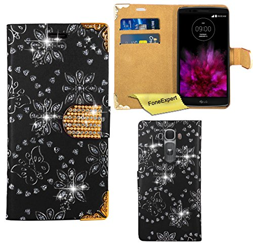 LG G Flex 2 Hülle, FoneExpert® Bling Luxus Diamant Hülle Wallet Hülle Cover Hüllen Etui Ledertasche Premium Lederhülle Schutzhülle für LG G Flex 2 + Bildschirmschutzfolie (Schwarz)