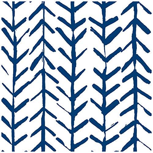 HaokHome 96038-1 Papel pintado de espiga geométrica azul índigo, papel de contacto extraíble para decoración del hogar, cuarto de baño, 45 x 299 cm