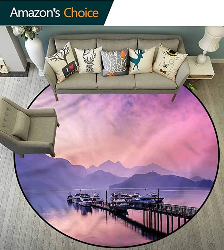 RUGSMAT Landscape Modern Machine Washable Round Bath Mat Lake Nantou Taiwan Asia Area Rug Perfect For Any Place Diameter 59