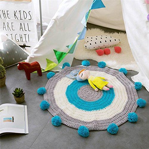 GRENSS Kawaii 80 * 80cm gelb/blau Kinderzimmer Dekoration runde Matten Handgestrickte Bälle matten Teppich Erker Pad gestrickte Wolle Teppich, wie Bilder, 80 x 80 cm