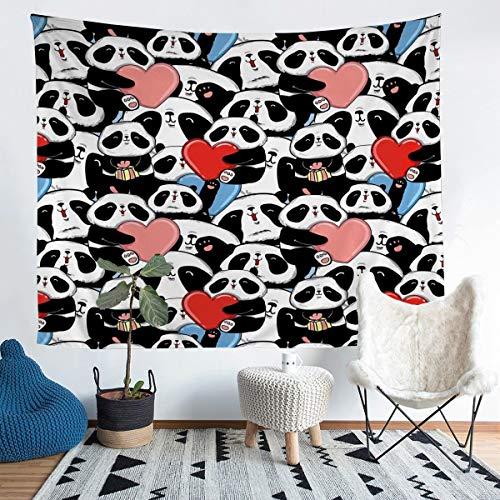 Manta de pared con diseño de oso panda para colgar en la pared para niños, niñas, niños, adolescentes, dibujos animados, diseño de panda gigante colorido, manta mediana de 137 x 127 cm