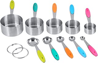 measuring cups Ejoyous 10 P Stainless Steel Measuring Cups and Spoons with Silicone Handle Grip Kitchen M