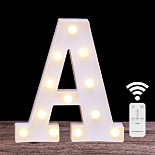 Elnsivo LED Marquee Letter Lights 26 Alphabet Light Up Name Sign Remote Control Letter Lamp for Wedding Birthday Party Battery Powered Christmas Lamp Home Bar Decoration (Letter A-Remote Control)