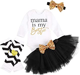 Newborn Infant Baby Girl Outfit Sets Funny Print Romper + Tulle Skirts + Headband + Leg Warmers