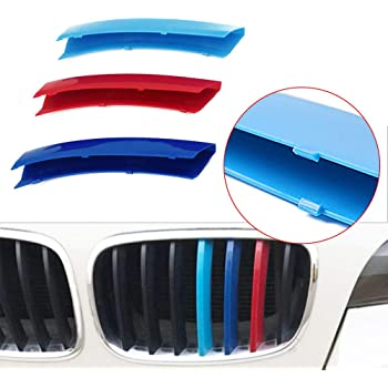 carado Front Grille Grill Cover for BMW 3 Series E90 E91 320 325 330 335 2005-2008 M Color Insert Trim Clips 3Pcs 12 Grilles