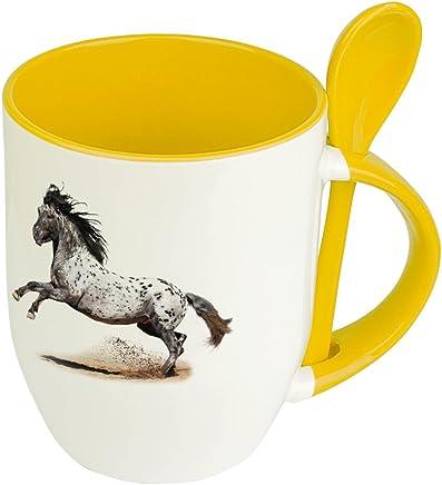 Preisvergleich für Pferdetasse Appaloosa - Löffel-Tasse mit Pferdebild Appaloosa - Becher, Kaffeetasse, Kaffeebecher, Mug - Gelb