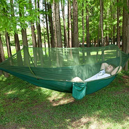 Hamac de camping extérieur avec hamac net, double et simple avec hamac en nylon avec sac de rangement, approprié pour le camping, patio, intérieur de plage, extérieur, randonnée ( Color : ArmyGreen )