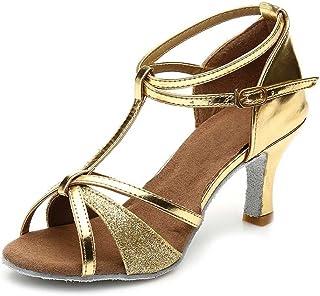 e55dcb454eb4 HIPPOSEUS Zapatos de Baile Latino para el salón de Baile con Purpurina y  Salsa para Mujer