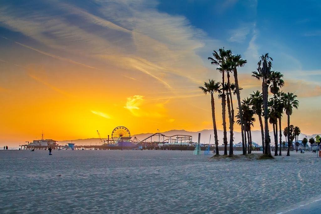 Venice Beach California Ferris Wheel Sunset Landscape Photo Cool Wall Decor Art Print Poster 36x24