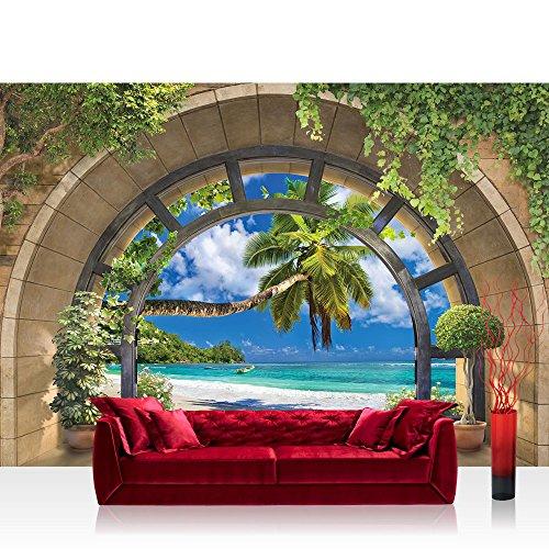 Premium Fleece Photo Wallpaper Wall Mural Photo Wallpaper–Natural View Window Arch Water Palm Trees Sand Plants 3D Natural–No 4561, Natural, Fototapete 312x219cm Premium Plus