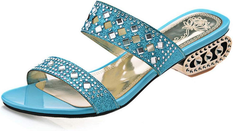 T-JULY Slippers Ladies Mules Female Sandals Med Wide Heels Slides Women Crystal shoes for Summer