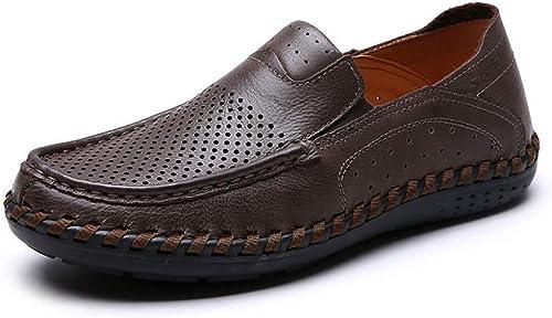 YUANN Mens Loafer Flats Schuhe Casual Leder Slip On Work Drive Utility Schuhe Braun
