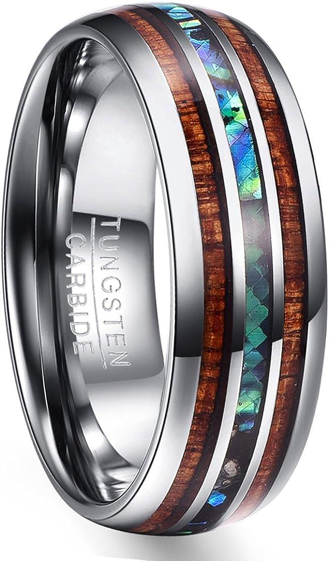 NUNCAD Anillo Hombre/Mujer con Shell + Madera/Ópalo de Tungsteno Unisex Ring para Recuerdos/Aniversario/Regalo 8mm Plata + Azul + Marrón Tamaño (10-36)